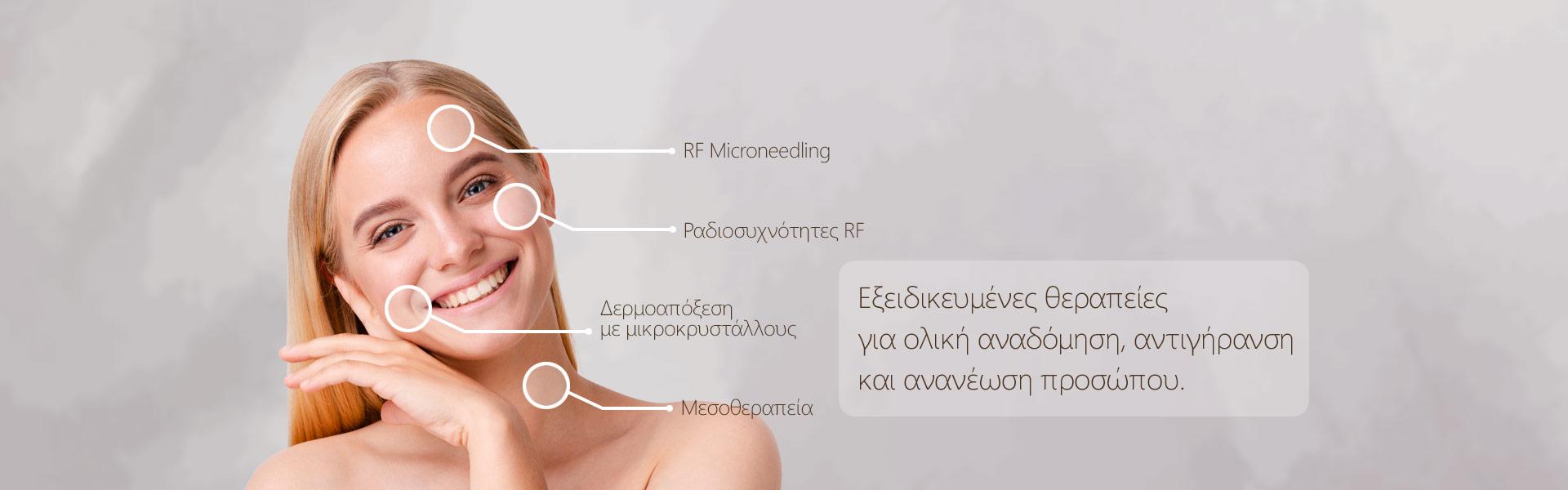 Εξειδικευμένες θεραπείες για ολική αναδόμηση, αντιγήρανση και ανανέωση προσώπου.